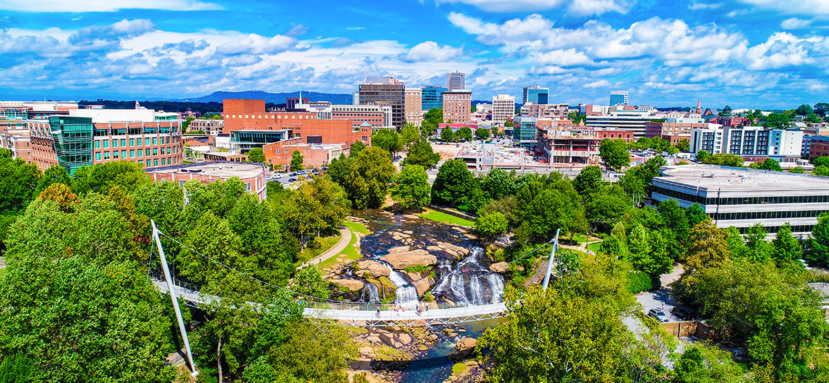 Aerial shot of downtown Greenville South Carolina with Reedy River